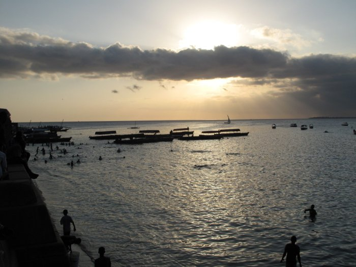 Dhows at sunset in Zanzibar's Stone Town