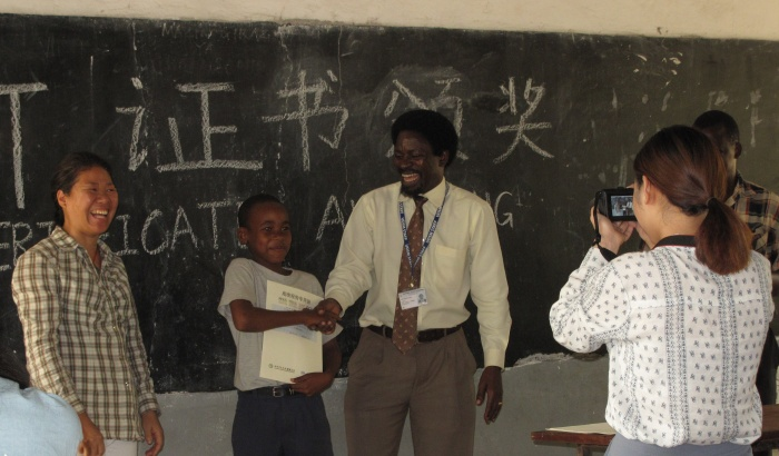 African students lining up to learn Chinese at Mlimani Primary School in Dar Es Salaam, Tanzania